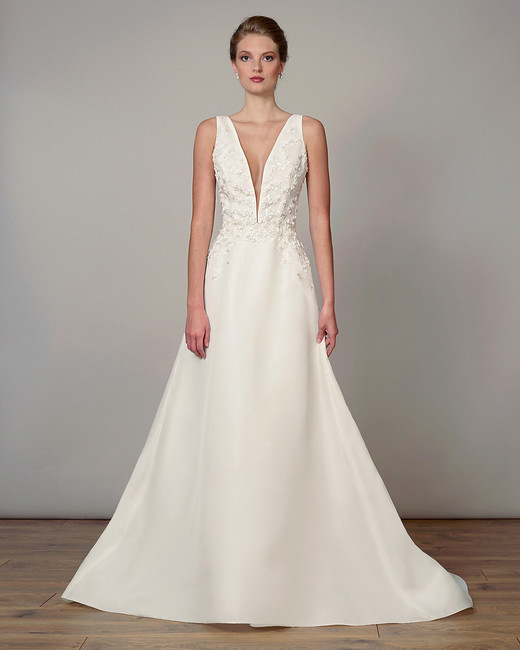 liancarlo wedding dress spring 2019 plunging applique bodice