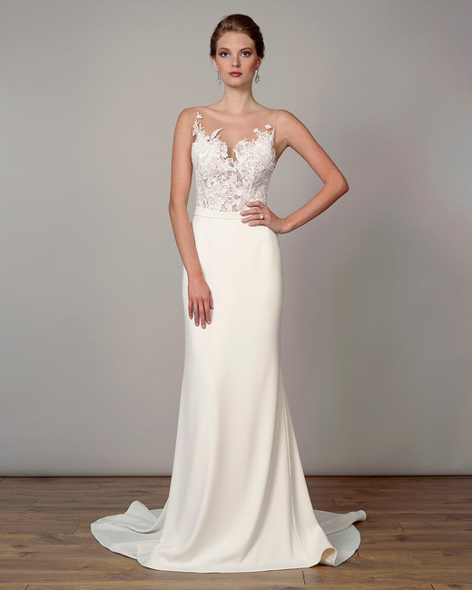 liancarlo wedding dress spring 2019 illusion neck embroidered sheath