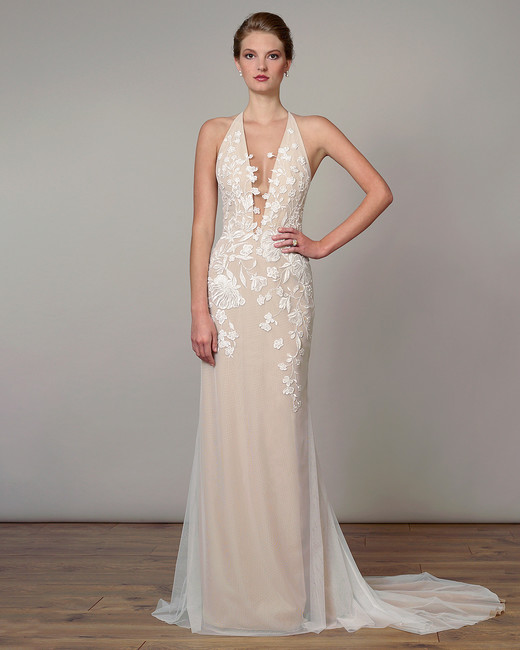 liancarlo wedding dress spring 2019 tan plunging neck halter