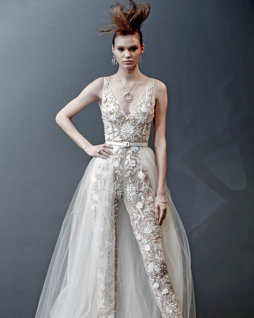 naeem khan sleeveless with train wedding dress spring 2019