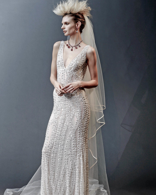 naeem khan off-the-shoulder beaded wedding dress spring 2019