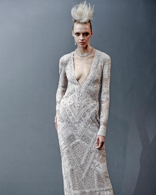 naeem khan v-neck sheath wedding dress spring 2019
