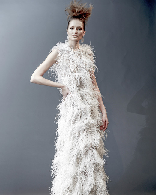 naeem khan off-the-shoulder feather sheath dress spring 2019