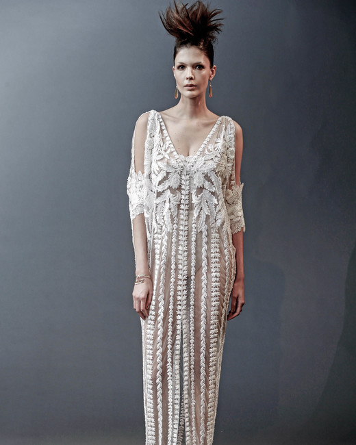 naeem khan sheer off-the-shoulder sheath wedding dress spring 2019