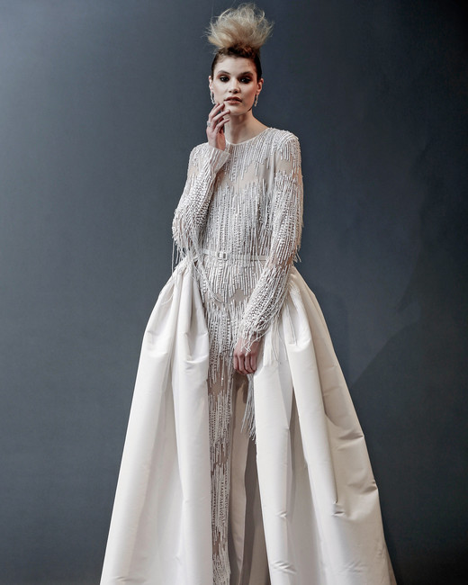 naeem khan beaded long sleeves with train wedding dress spring 2019