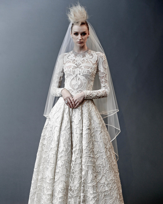 naeem khan long sleeves ball gown wedding dress spring 2019