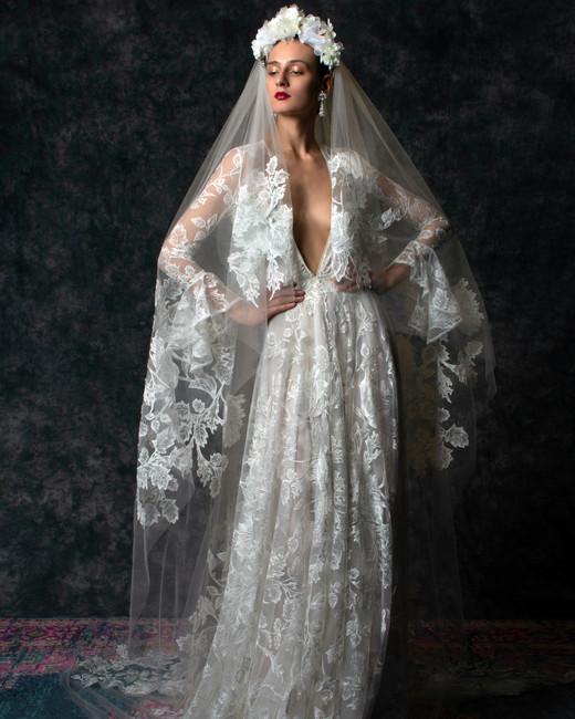 Lace long sleeves flutter cuffs deep v-neck train a-line Wedding Dress Naeem Khan Spring 2020