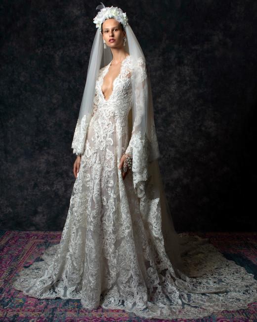 Lace long sleeves plunging v-neck train a-line Wedding Dress Naeem Khan Spring 2020