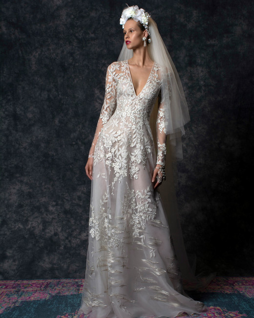 Lace long sleeves v-neck a-line Wedding Dress Naeem Khan Spring 2020
