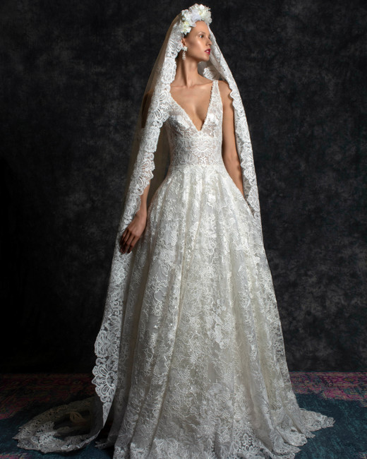 wide strap deep v-neck scalloped lace ball gown Wedding Dress Naeem Khan Spring 2020
