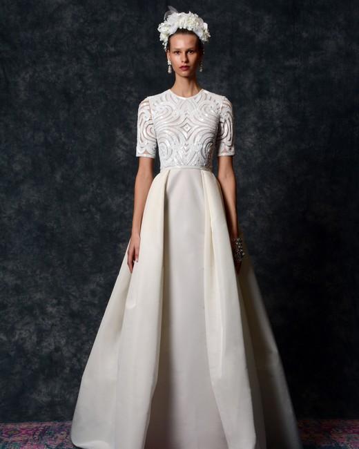 short sleeve jewel neckline Wedding Dress Naeem Khan Spring 2020