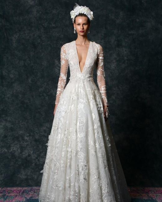 long sleeve v-neck Wedding Dress Naeem Khan Spring 2020