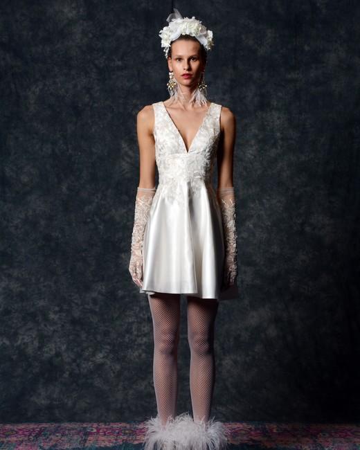 v-neck mini with gloves Wedding Dress Naeem Khan Spring 2020