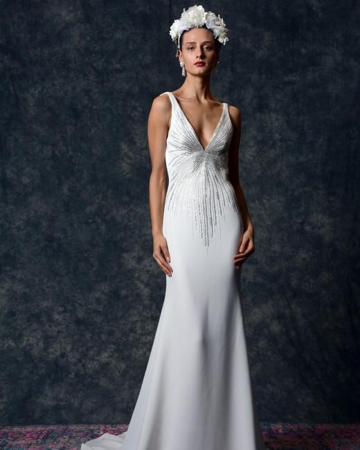 v-neck trumpet Wedding Dress Naeem Khan Spring 2020