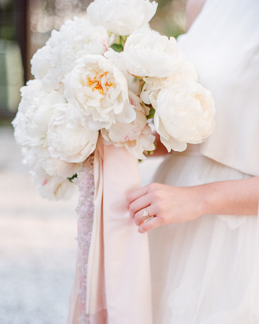 white peony bouquet with yellow cores