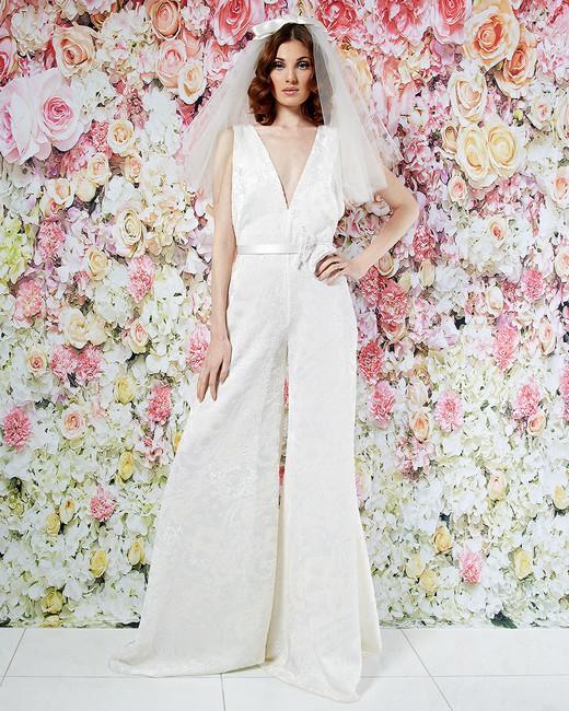 randi rahm wedding dress spring 2019 v-neck wide-leg jumpsuit