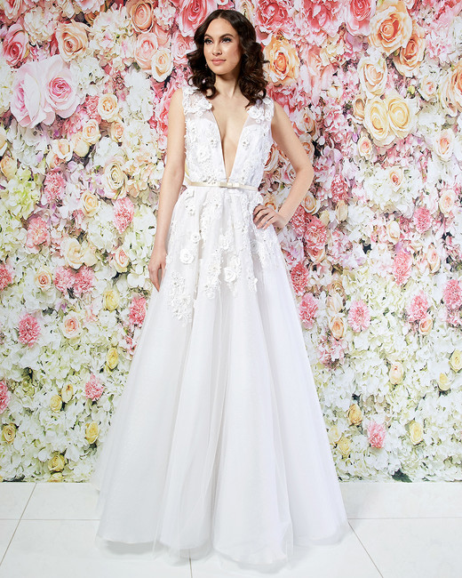 randi rahm wedding dress spring 2019 plunging neck applique a-line