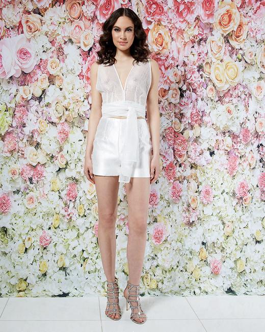 randi rahm wedding dress spring 2019 shorts sheer wrap top