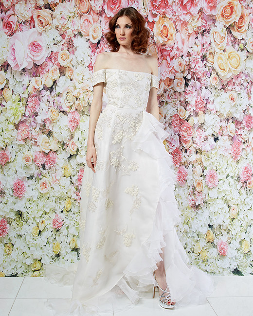 randi rahm wedding dress spring 2019 off-the-shoulder ruffle slit detail