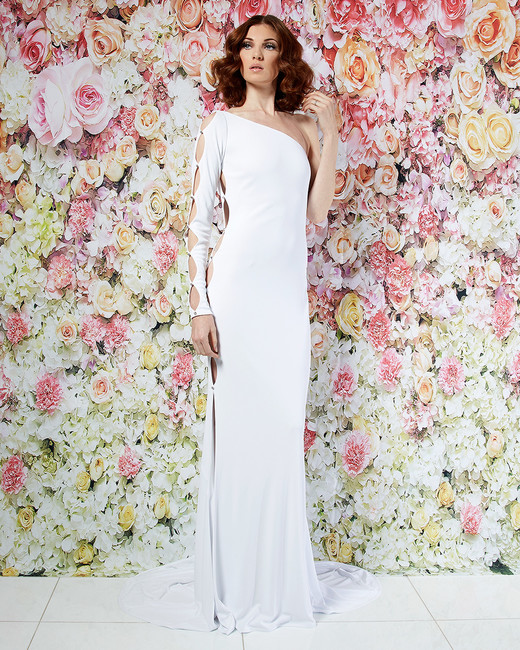randi rahm wedding dress spring 2019 asymmetrical one-sleeved cutout sheath