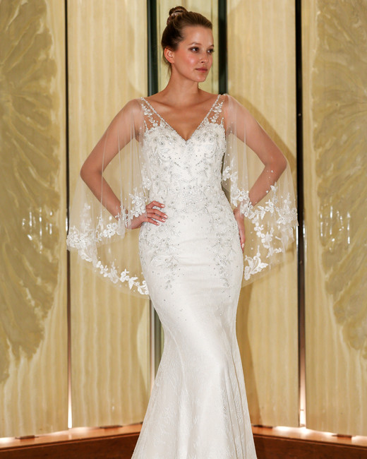 randy fenoli wedding dress v-neck trumpet illusion cape beaded