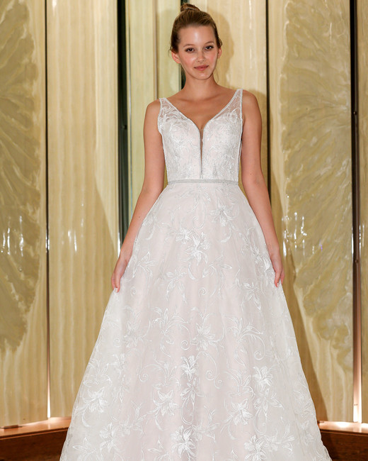 randy fenoli wedding dress floral applique v-neck a-line