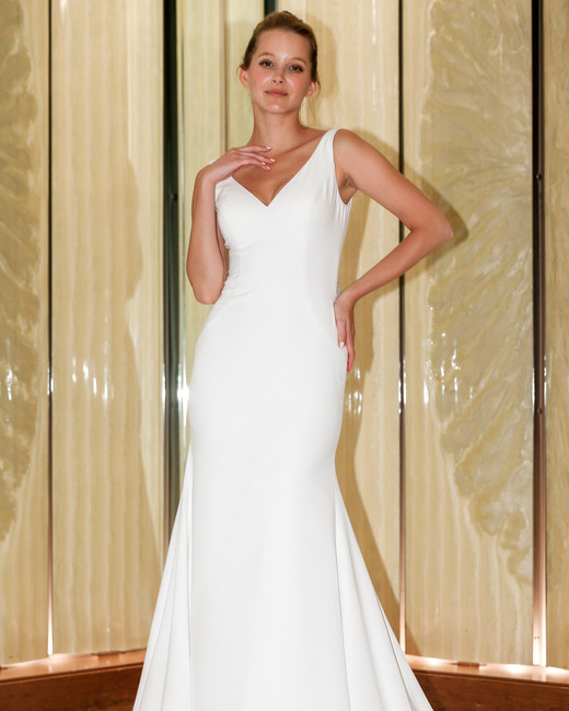 randy fenoli wedding dress sleeveless v-neck sheath with train