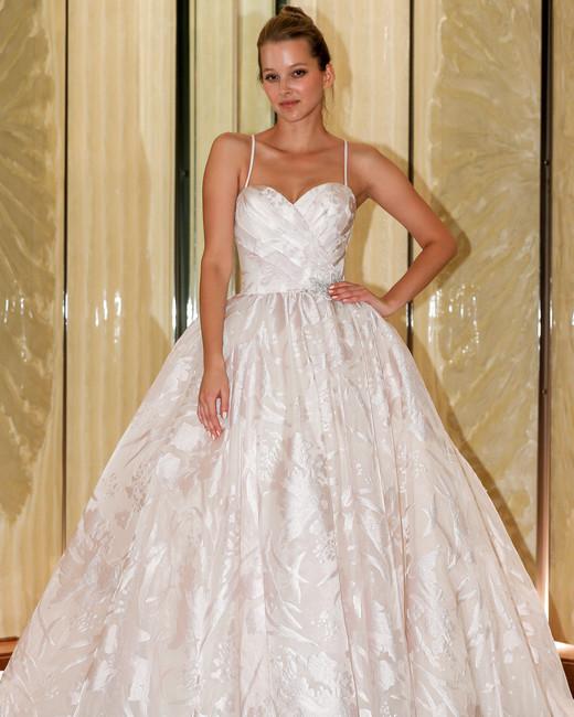 randy fenoli wedding dress spaghetti strap sweetheart blush ball gown