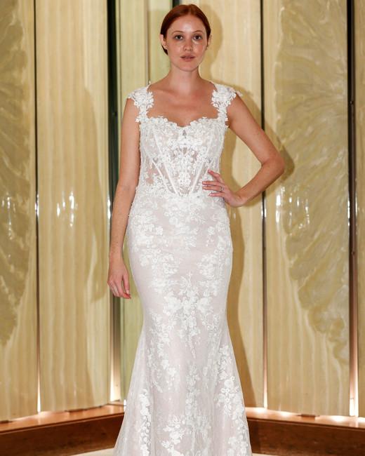 randy fenoli wedding dress lace trumpet cap sleeves queen anne neckline