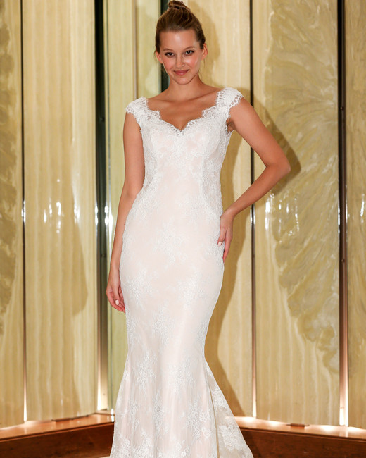 randy fenoli wedding dress cap sleeves lace trumpet v-neck