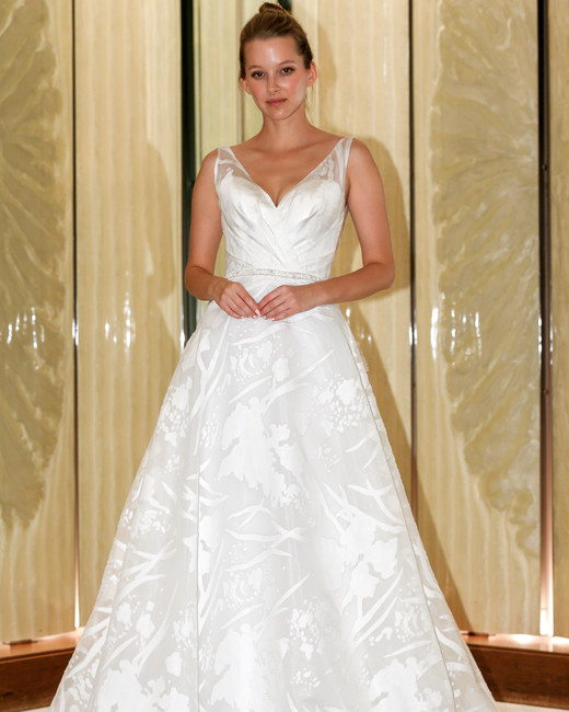 randy fenoli wedding dress v-neck a-line abstract design