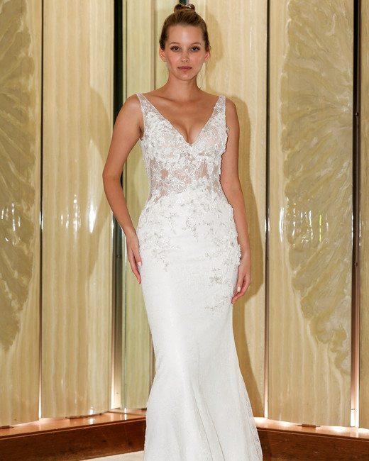 randy fenoli wedding dress embellished sleeveless v-neck trumpet