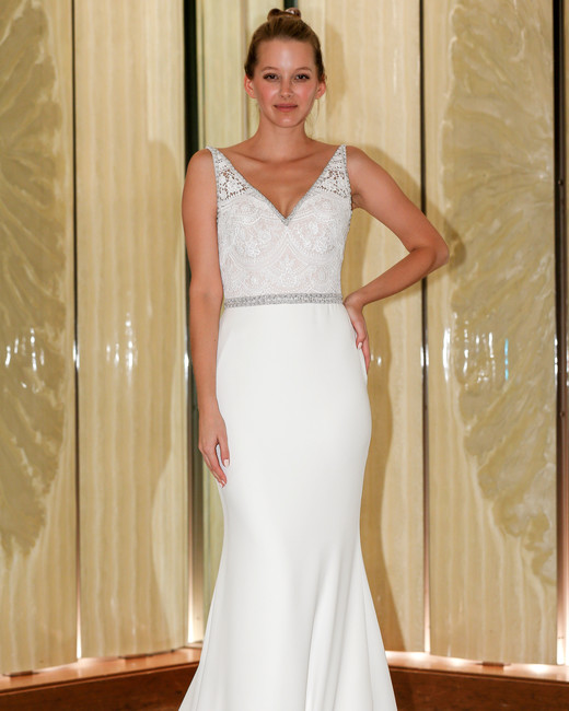 randy fenoli wedding dress embellished bodice v-neck trumpet beaded belt
