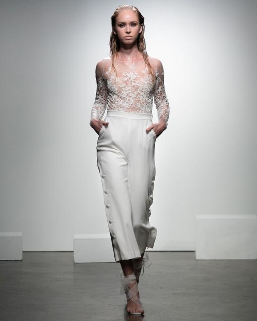 rime arodaky fall 2019 short pants bateau illusion neckline sheer floral applique long sleeves