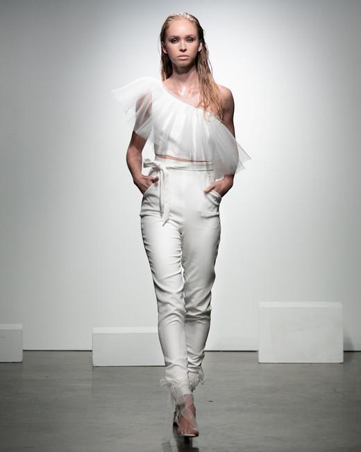 rime arodaky fall 2019 pants asymmetrical neckline sleeveless sheer capelet