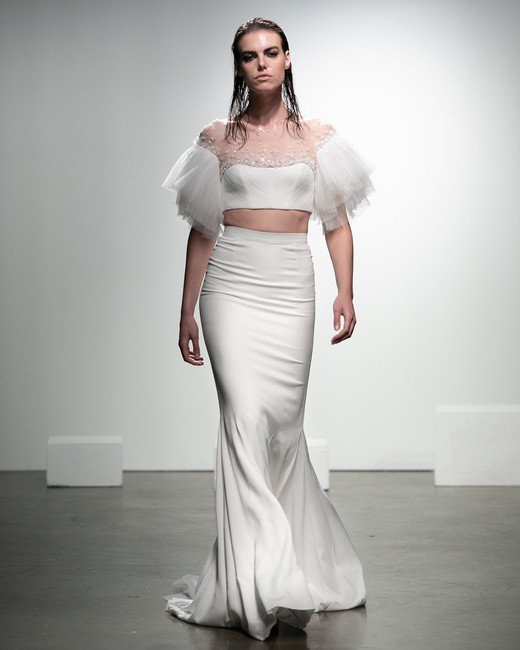rime arodaky fall 2019 mermaid illusion sweetheart neckline tool flair sleeves beaded