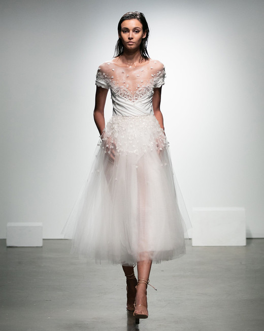 rime arodaky fall 2019 tea length sheer a line illusion sweetheart cap sleeves beaded