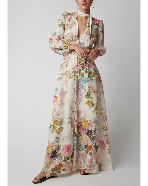 white floral linen maxi dress