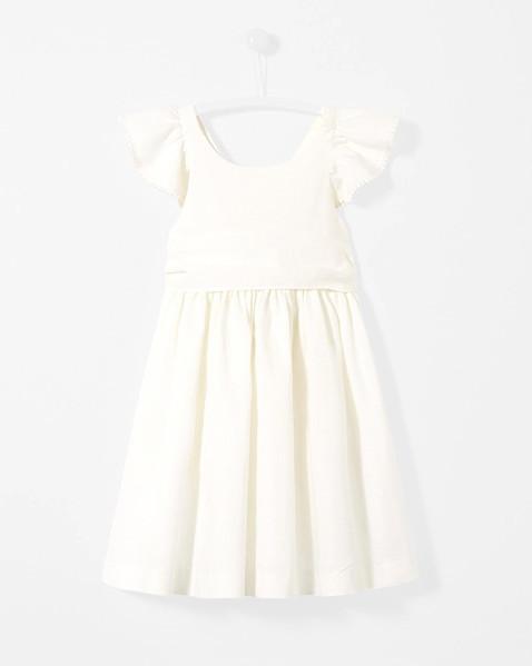 summer flower girl dress white ruffles sleeves