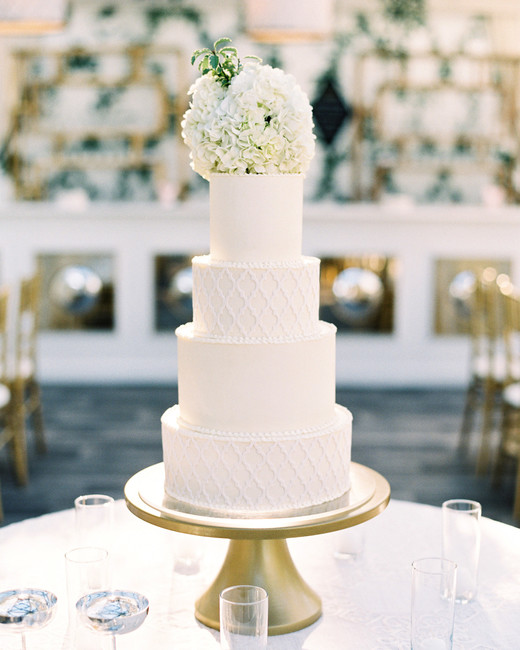 hydrangea topped four tiered white frosted textured design wedding cake