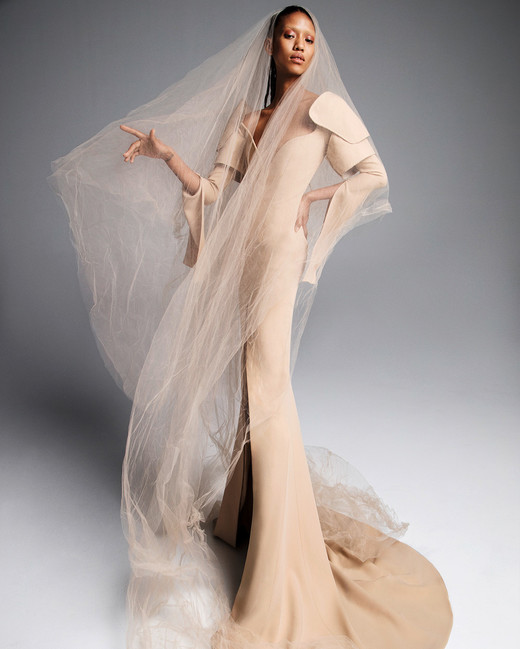 vera wang wedding dress spring 2019 tan long sleeves trumpet veil