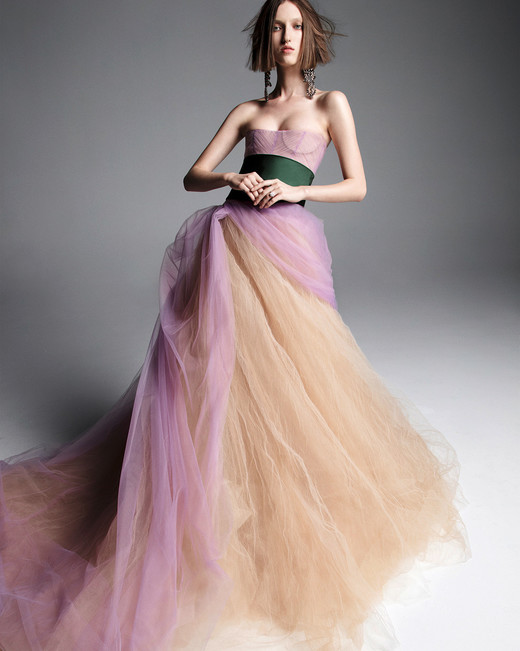 vera wang wedding dress spring 2019 purple tan strapless ball gown