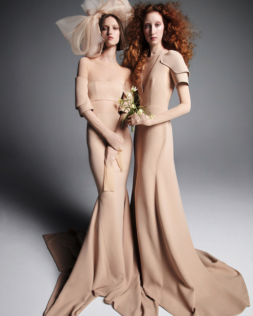 vera wang wedding dress spring 2019 tan sleeves a-line trumpet