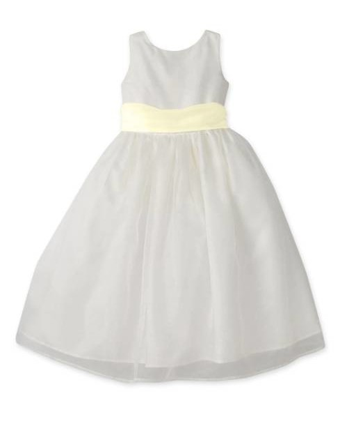Us Angels Flower Girl Dress with Yellow Sash