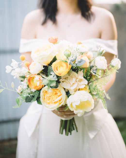 yellow peonies and greenery bouquet