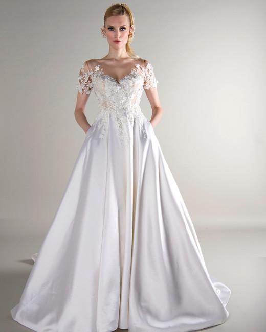 Mock Turtleneck Short Sleeves Wedding Dress