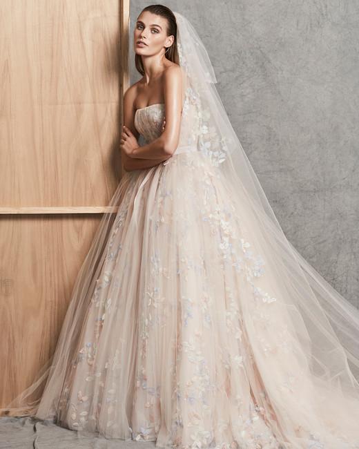 zuhair murad dress fall 2018 peach strapless ball gown
