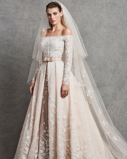 zuhair murad off-the-shoulder blush wedding dress fall 2018