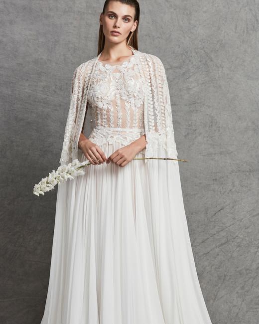 zuhair murad lace sheath wedding dress with shawl fall 2018