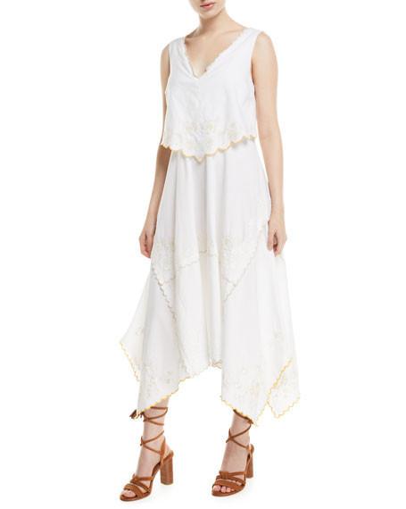 spring bridal shower dress white eyelet tiered midi